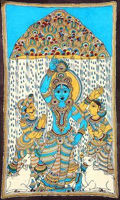 Krishna hold up Govardhana Hill to protect the residents of Vrindaban from Indra's wrath. Kalamkari Painting, Madhubani Painting, Silk Painting, Ancient Indian Art, Indian Folk Art, Saree Painting Designs, Painting Styles, Krishna Art, Krishna Lila