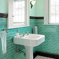 In bathrooms, a field of brightly colored or glossy white subway tile, finished with a black base and a chair-rail or bullnose cap, was a popular prewar wall finish—and one that's still widely replicated today. | Photo: Patrick Barta/Cornerhouse Stock | thisoldhouse.com