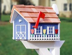 Image detail for -tb121 country blue rural mailbox with white trim white picket fence ...