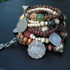 Wood and Vintage Metal Gypsy Bracelet-Love it!