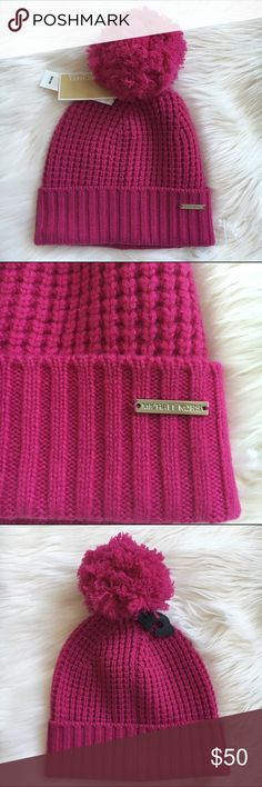 💖MICHAEL KORS pom pom beanie Fushia beanie in 100% wool by Michael Kors . New! Authentic 🚫trades Michael Kors Accessories Hats