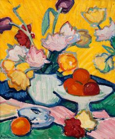 Tulips in a Pottery Vase, c.1912 - Samuel Peploe, Hunterian Art Gallery, University of Glasgow. One of the most glorious life affirming spring pictures!