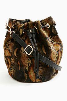 Nasty Gal Serpentine Ponyhair Bucket Bag