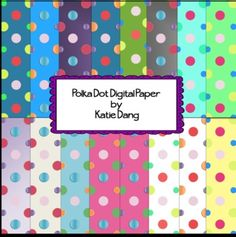 Polka Dot Digital Background Paper - great for digital productions for teachers on TPT or any other colorful creation!