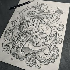 "2,941 Likes, 45 Comments - Craig Patterson (@absorb81) on Instagram: ""Skull / Octopus / Anchor Design // Client WIP ⚓️ #skull #octopus #tattoo #sketch #nautical #ocean…"""
