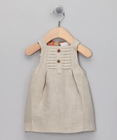 Beige Linen Dress - Infant The shape is loose, saturated color would add Interest.