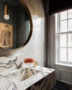 Beacon Street Residence - Elms Interior Design - Powder Room - Custom Marble Free Floating Vanity