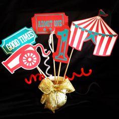 Carnival centerpiece for themed birthday. #cricut #carousel cartridge.