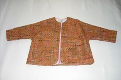 1960's inspired collarless jacket with three-quarter length kimono sleeves