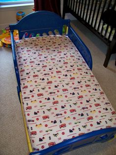 Spray paint plastic toddler bed - We did this with a plastic Sponge Bob todddler bed we bought at a garage sale for $5. Spray painted it pink and gold, then applied a coat of clear glitter spray paint. It looks amazing and cost pennies!