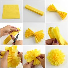 tissue paper flower tutorial As I promised on the part 1 of this article, I will show you now how we made paper roses using florist's crepe paper. This requires just a bit more work than the first tutorials but still easy. The second one is to How To Make Paper Flowers, Paper Flowers Craft, Crepe Paper Flowers, Paper Roses, Flower Crafts, Diy Flowers, Hanging Flowers, Wedding Flowers, Autumn Flowers