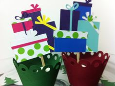 Holiday Gift Cupcake Toppers by JellyBeanPaper on Etsy, $10.00