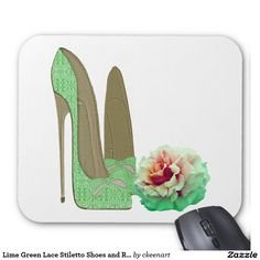Lime Green Lace Stiletto Shoes and Rose Art Mouse Pad