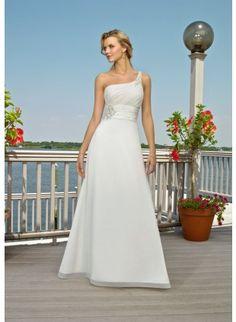 One Shoulder Sheath Chiffon Beading Wedding Dress With Button