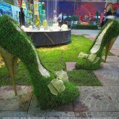 These shoes are green as grass!  ...  could do a crafty topiary for a spring display.