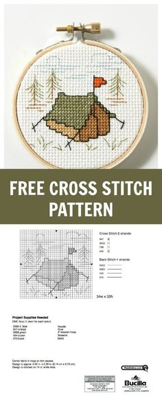 Free Cross Stitch Pattern: Let's Go Camping! | Plaid Online