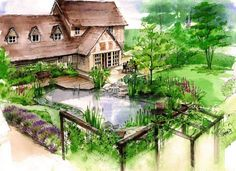 Watercolour for a proposal of a new timber framed house and country garden with a natural swimming pool.