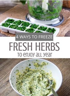 Some herbs loose their flavor when dried and are better preserved by freezing. Fortunately, there are several ways of freezing herbs depending on your needs and the herb itself. Freezing Basil, Freezing Fresh Herbs, How To Freeze Herbs, Herb Recipes, Real Food Recipes, Healthy Recipes, Healthy Foods, Healthy Eating, Herb Butter