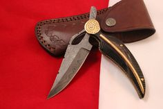 DUCK GREEC HANDMADE DAMASCUS FOLDING KNIFE NEWYEAR OFFER BULL HORN HANDLE.DUC274 #DUCKGREEC