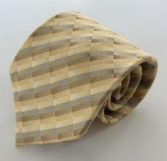 Van Heusen Neck Tie Stain Resistant Beige Brown Blue Stripe 100% Silk #VanHeusen #NeckTie