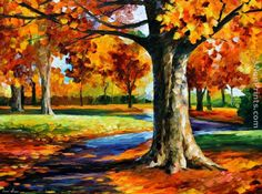 I love Fall! Beautiful Fall art by Leonid Afremov saw this online and loved it. Hope he does not mind me passing it along.