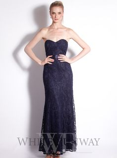 A gorgeous full length dress by Mr K. A strapless lace gown with sweetheart neckline and satin waistband. Sweetheart neckline Lace dress with matched lining Back zip