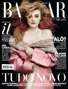 dakota fanning  shot by karl lagerfeld  Just when we thought we'd seen all the best September issues out there... Harper's Bazaar Brazil has revealed one cool contender.