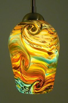 Hand Blown Pendant Light in Turquoise Terracotta by Glassometry