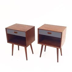 """Mid-Century style nightstands. Handcrafted out of walnut, with lacquered drawer fronts. Available in all walnut or yellow, blue or sage. Dimensions: 20""""wide-15 3/4''deep-28"""" height. White Glove shippi"""