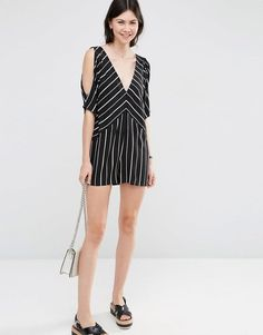 Pin for Later: This Is the July 4 Look You'll Repeat All Summer Long — and It's Under $100  ASOS Stripe Cold Shoulder Romper ($57)