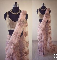– soft net saree with complete butta# all over the saree meter with# finishing to get the look*# zari Jacquard blouse 1 meter in# gold color* # – santoon peach meter # pastel peach color# with# zari and thread# on soft# net# heavy zari# blouse# Lace Saree, Net Saree, Chiffon Saree, Saree Dress, Simple Sarees, Trendy Sarees, Stylish Sarees, Peach Color Saree, Jute