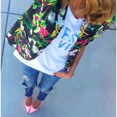 Floral Blazer with Graphic Tee