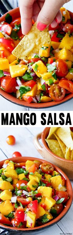 Vibrant and flavorful Mango Salsa with Lemon Lime Vinaigrette that doubles as a colorful Summer salad made with a refreshing lemon-lime vinaigrette. Mexican Food Recipes, Whole Food Recipes, Vegetarian Recipes, Cooking Recipes, Healthy Recipes, Summer Snacks, Summer Salads, Summer Recipes, Healthy Summer
