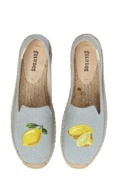 Free shipping and returns on Soludos Lemon Espadrille Flat (Women) at Nordstrom.com. Embroidered lemons add sunny zest to chambray denim espadrilles with a trendy loafer-inspired topline.