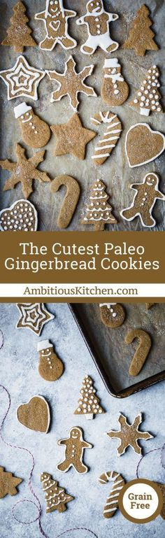 Adorable paleo gingerbread cookies made with coconut and almond flour! These grain free and gluten free cookies are the perfect treat during the holidays.