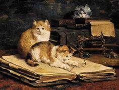Bibliotecários felinos, s/d Charles van den Eycken (Bélgica, 1859-1923) óleo sobre tela, 46 x 56 cm