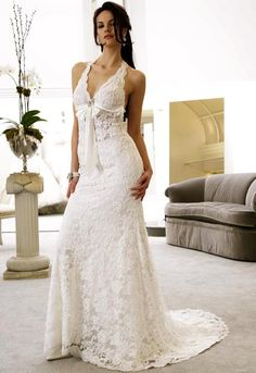 Beach Lace Halter Wedding Dress