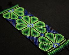 Beaded Huichol Bracelet Native American by BiuluArtisanBoutique Bead Crochet Patterns, Seed Bead Patterns, Beaded Jewelry Patterns, Beading Patterns, Beaded Choker Necklace, Seed Bead Necklace, Seed Bead Bracelets, Native American Earrings, Bracelets