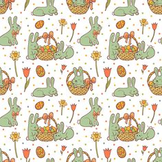 Easter seamless pattern in doodle style with Cute Easter Bunnies on white background.