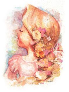 Rapunzel (Tangled) - Watercolor