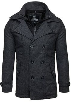 JUST BOY M003 Dunkelgrau XL [4D4] Herren Mantel Jacke Winterjacke Wärmemantel Herrenmantel Warm - 1