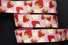 10Yd Flower & Strawberry 7/8 Pink Grosgrain Ribbon Craft/Bow