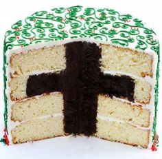 Faith Surprise Inside Cake ~ Cross Hidden in Cake. This would be fun for Jesus birthday cake on Christmas eve.