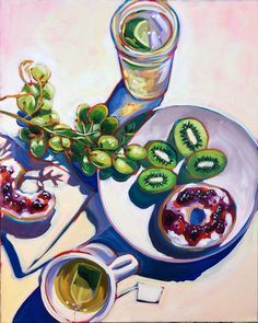 Kiwi And Bagel Breakfast — Sari Not Sorry Art from Sari Shryack Plant Painting, Fruit Painting, Painting & Drawing, Gouache Painting, Sketchbook Inspiration, Painting Inspiration, Art Inspo, Ap Studio Art, Art Projects