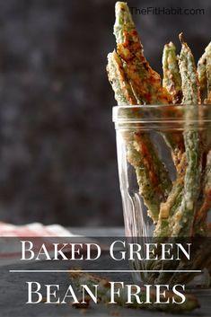 gluten free baked green bean fries Vegetarian Appetizers, Vegetarian Recipes Easy, Clean Eating Recipes, Lunch Recipes, Vegetable Recipes, Low Carb Recipes, Appetizer Recipes, Real Food Recipes, Healthy Recipes