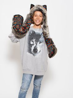 What's Your Spirit Animal? ...... GREY WOLF WARRIOR ........... (Faux Fur, Limited Collection)..... Traits: Loyal > Social > Teacher..... Find out more about the #Grey #Wolf #Warrior #Spirit #Animal at: $39 #Gifts #Fashion #SpiritHood #SpiritHoods #Hoodie #FauxFur #Paws #Scarf #Kids #Boys #ProBlue