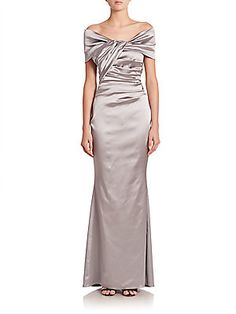 Talbot Runhof Off-Shoulder Stretch Satin Gown - Icicle