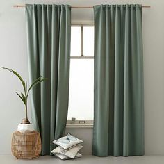 whkmp's own gordijn x 270 cm) Green Curtains, Drapes Curtains, Silk Drapes, Color Celeste, Custom Drapes, Room Planning, Bedroom Layouts, Window Design, Home Bedroom