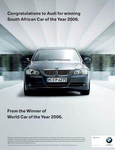 : BMW, Audi and Subaru in ad grudge match Wrap Advertising, Creative Advertising, Advertising Signs, Ads Creative, Advertising Campaign, Bmw Meme, Subaru Gt, Funny Billboards, Audi A