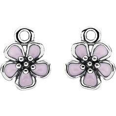 Pandora Cherry Blossom Silver Enamel Earring Charms ($26) ❤ liked on Polyvore featuring jewelry, pendants, jewelry & watches, nocolor, cherry blossom jewelry, charm pendants, pandora jewelry, enamel silver charms and cabochon jewelry
